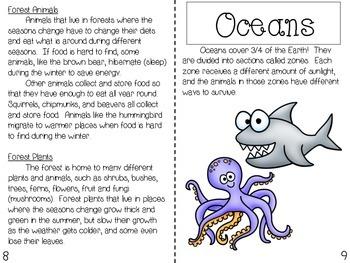 Plants and Animal Habitats Booklet