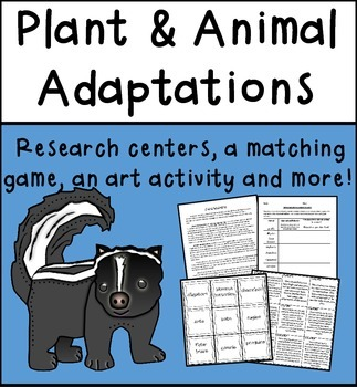 Plant and Animal Adaptions - Research Centers, Vocabulary,