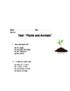 Plants and Animals Pretest and Test