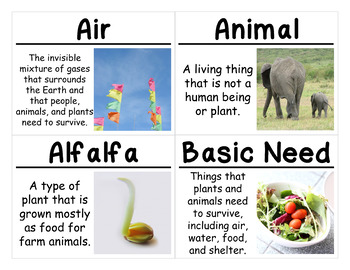 Plants and Animals Science Vocabulary Cards