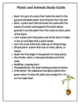 Plants and Animals Study Guide Vocabulary