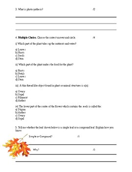 Plants and Animals Test - Grade 3