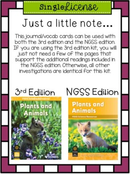 Plants and Animals(FOSS)-A Fun, Kid Friendly Science Journal