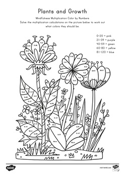 Plants and Growth Themed 2, 5 and 10 Times Color by Number Activity Sheets