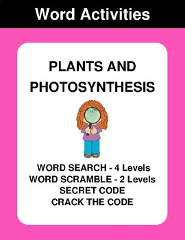 Plants and photosynthesis - Word Search Puzzle, Word Scramble,  Crack the Code