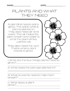 Plants and what they need