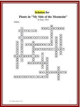 "Plants in ""My Side of the Mountain"" Crossword Puzzle - Features 18 plants"