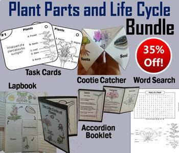 Plants of a Plant and Plant Life Cycle Task Cards and Acti
