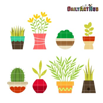 Plants on Pot Clip Art - Great for Art Class Projects!