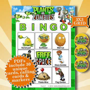 Plants vs Zombies 3x3 Bingo 30 Cards