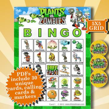Plants vs Zombies 5x5 Bingo 30 Cards