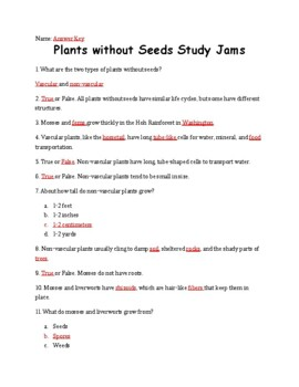Plants without Seeds Study Jams Worksheet