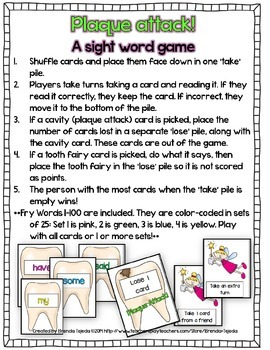 Plaque Attack! A sight word card game- Fry Words 1-100