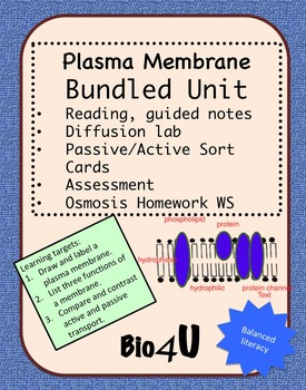 Plasma Membrane, Passive and Active Transport Bundled Unit