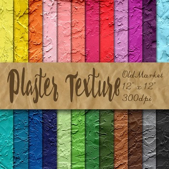Plaster Wall Texture - Digital Paper Pack - 24 Different Papers - 12 x 12