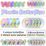 Plastic Butterflies PNG Graphics Clip Art Set