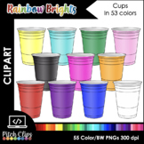 Plastic Cups Clip Art (Clip Art) - 12 Colors +BW! Commercial and SMART OK