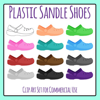 Plastic Sandle Style Shoes Similar to Crocs Clip Art Set for Commercial Use