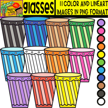 Plastic glasses - Cliparts Set - 11 Items