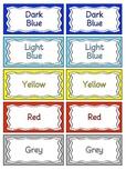 Plasticine Tub Labels/Colour Cards