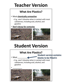 Plastics - PowerPoint Lesson and Student Notes