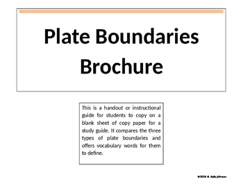 Plate Boundaries Brochure for Science Grades 6-9