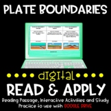 Plate Boundaries DIGITAL Read and Apply for Distance Learning