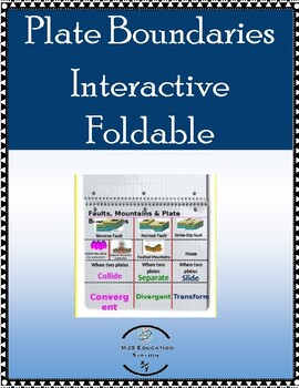 Plate Boundaries Interactive Foldable Includes Mountain Building and Faults