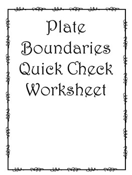 Plate Boundaries Quick Check Worksheet
