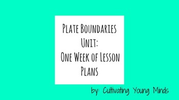 Plate Boundaries Weekly Lesson Plans