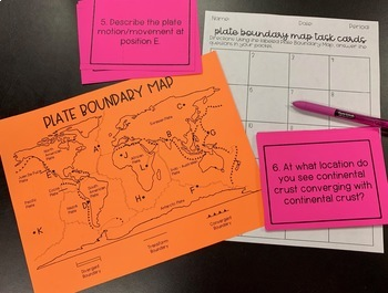 Plate Boundary Map Task Cards