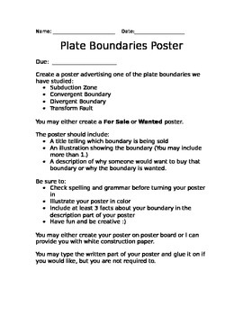 Plate Boundary Project Sheet