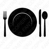 Plate Fork Knife and Spoon SVG files for Silhouette Cameo