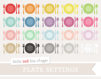Plate Setting Clipart; Kitchen, Dining, Dinner, Silverware, Utensil