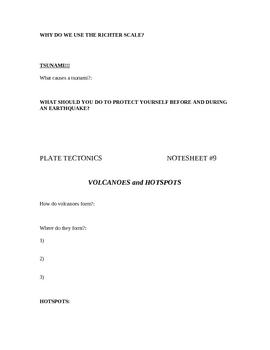 Plate Tectonic Notes (Worksheets)