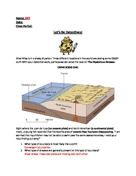Plate Tectonic/Boundaries through Detective Worksheet