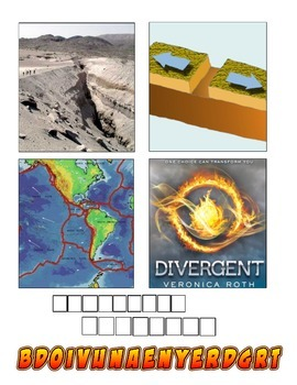 "Plate Tectonics ""4 Pics one word"" Vocabulary Game"