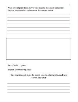 Plate Tectonics Assessment (3 Levels)