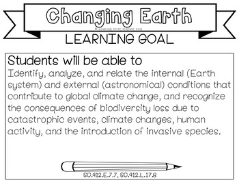 Plate Tectonics & Catastrophic Events Learning Goal, Scale, Essential Question