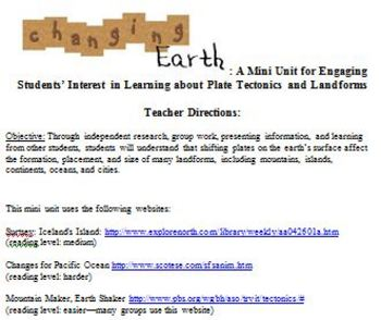 Plate Tectonics Changing Earth Mini Internet Research Unit