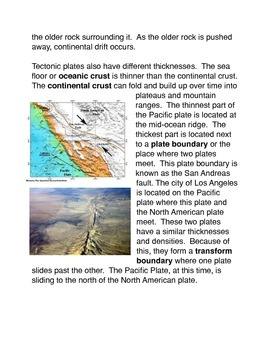 Plate Tectonics Common Core Activity