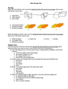 Plate Tectonics/ Continental Drift/ Constructive and Destructive Forces- Test