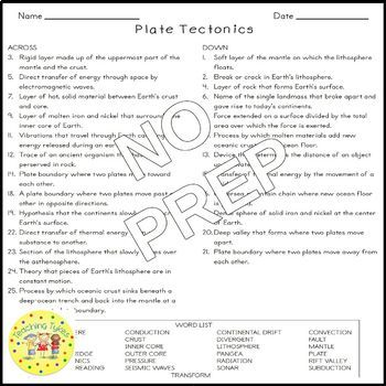 Plate Tectonics Earth Science Crossword Puzzle Worksheet Middle School