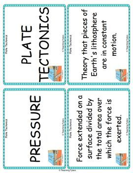 Plate Tectonics Vocabulary Cards