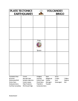 Plate Tectonics, Earthquakes and Volcanoes Bingo