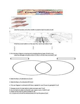 Plate Tectonics Exam/Test