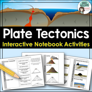 Plate Tectonics Interactive Notebook - Plate Boundaries, Volcanoes & Earthquakes