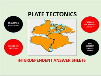 Plate Tectonics: Interdependent Answer Sheets Activity