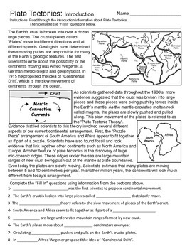 Plate tectonics map teaching resources teachers pay teachers plate tectonics introduction and map activity fandeluxe Choice Image