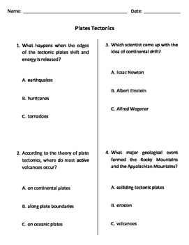 Plate Tectonics MODIFIED Quiz, Test, or WS